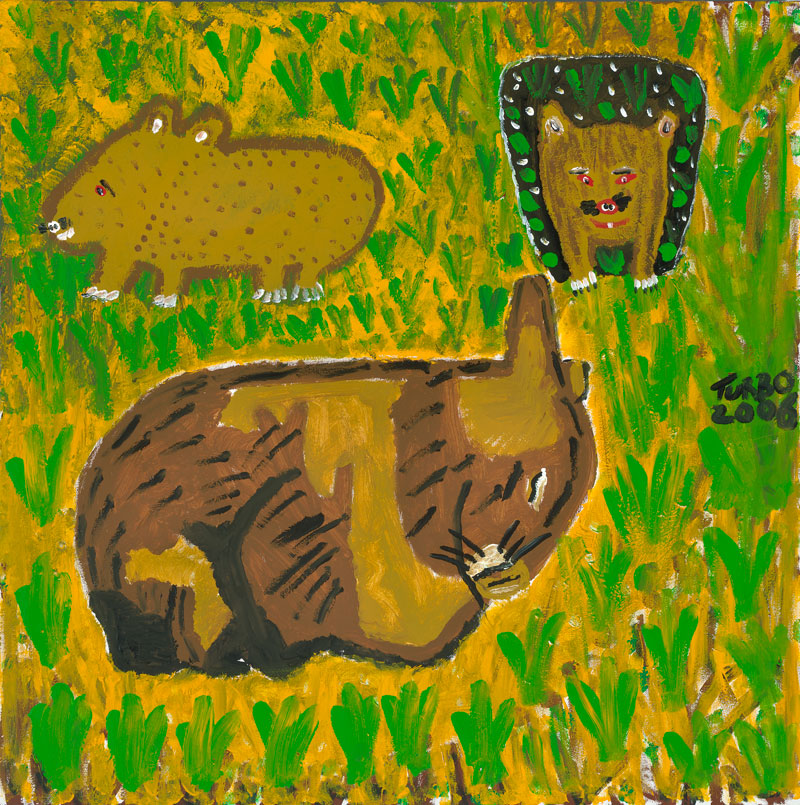 "Trevor ""Turbo"" Brown, Three Wombats, 2006, synthetic polymer paint on canvas. Collection, National Gallery of Victoria, Melbourne. ©Trevor ""Turbo"" Brown"