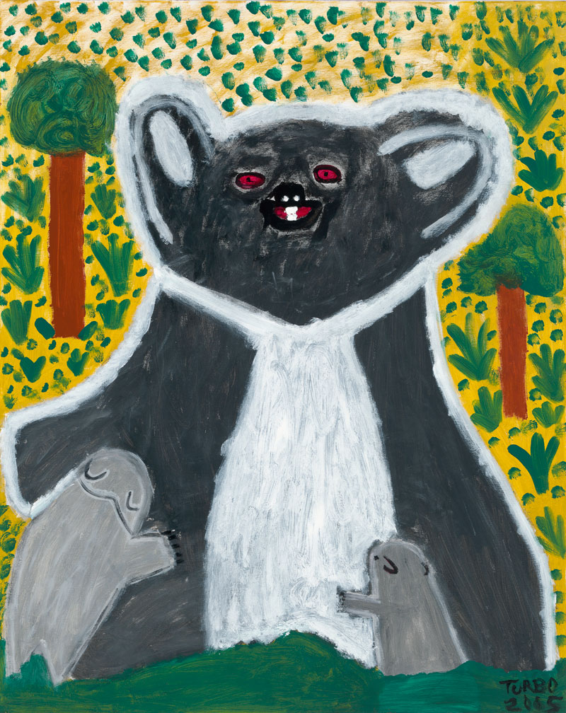 "Trevor ""Turbo"" Brown, Koala and Babies, 2005, synthetic polymer paint on canvas. Collection, National Gallery of Victoria, Melbourne. ©Trevor ""Turbo"" Brown"
