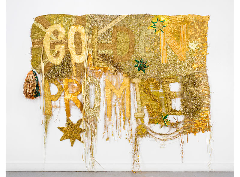 Raquel Ormella, Wealth for toil I, 2014, synthetic polymer paint, hessian, metallic thread and ribbon 220 x 270 cm Courtesy Milani Gallery, Brisbane © the artist