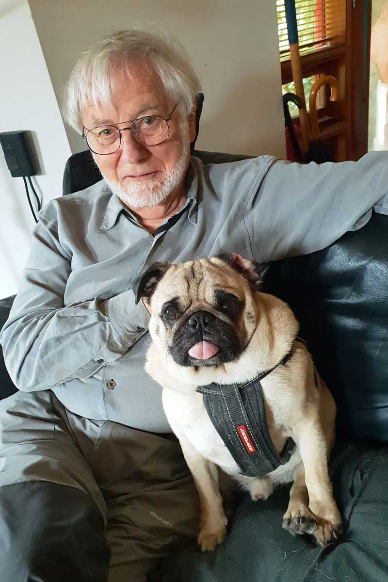 Donald Brook with his dog Obi in 2018. Photo: Janet Maughan