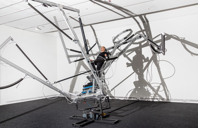 Stelarc with Reclining Stickman, 2020 Adelaide Biennial of Australian Art: Monster Theatres. Photo: Saul Steed
