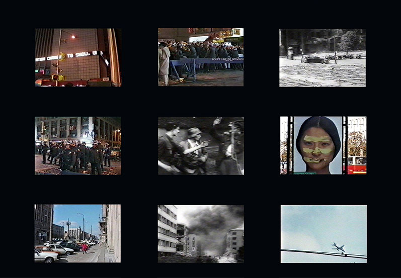 Bronia Iwanczak, The Path of the Accident, 1995, video of edited footage taken in New York, Warsaw and Adelaide, synchronised with footage from the 1944 Warsaw Uprising. Courtesy the artist