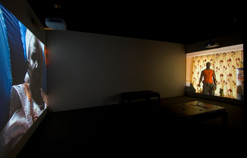 James Newitt, Altered State, 2006, two-channel video installation. Installation view, Handle With Care, Adelaide Biennial of Australian Art, Art Gallery of South Australia. Photo courtesy the artist and Criterion Gallery, Hobart