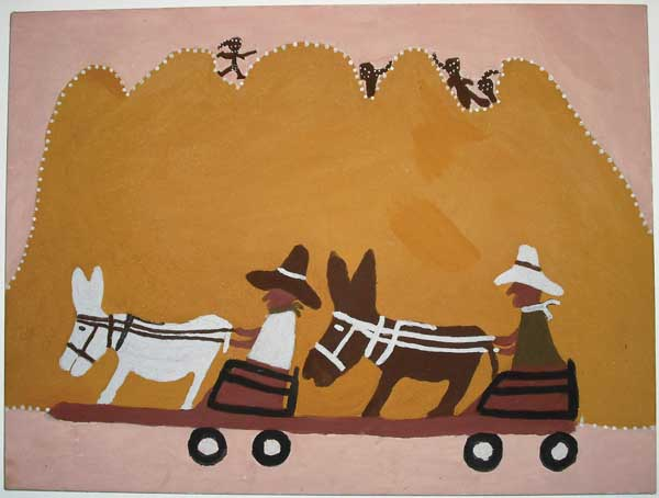 Madigan Thomas, Old Wagon Road, 2004, ochre and natural pigment on canvas. Courtesy the artist