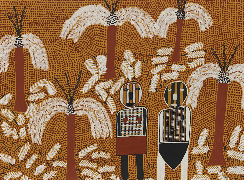 Maryanne Mungatopi, Purukuparit and Wai-ai in the Forest, 2002, ochre on Arches paper. Courtesy Jilamara Arts