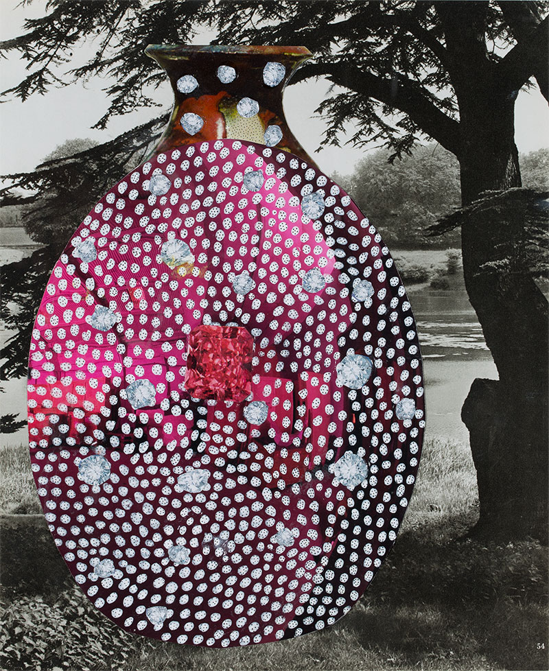 Glenn Barkley, Large Bejeweled Moon Pot, 2015, collage and synthetic polymer paint on paper.