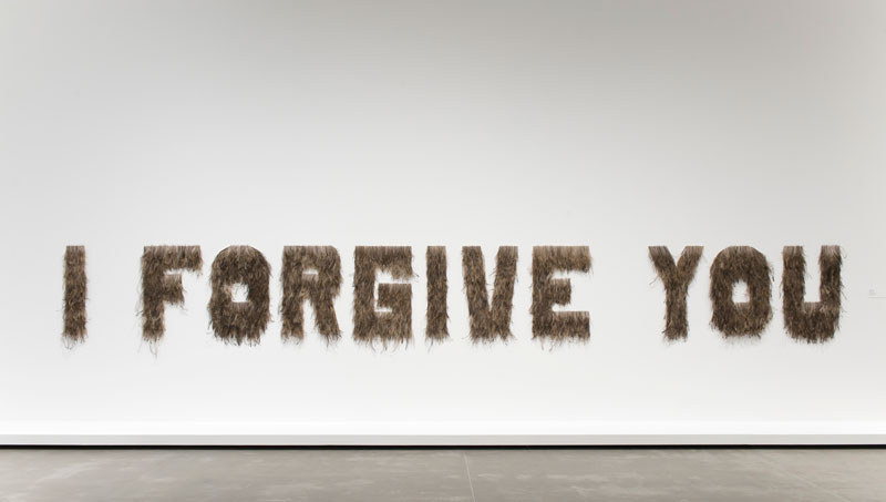 Bindi Cole, I Forgive You, 2012, emu feathers on MDF. Collection: Queensland Art Gallery.