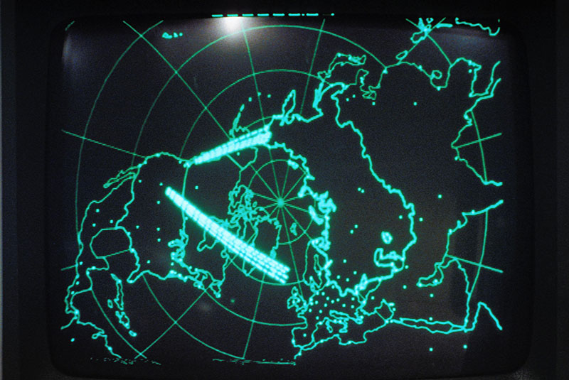 Map on computer screen in War Games, 1983