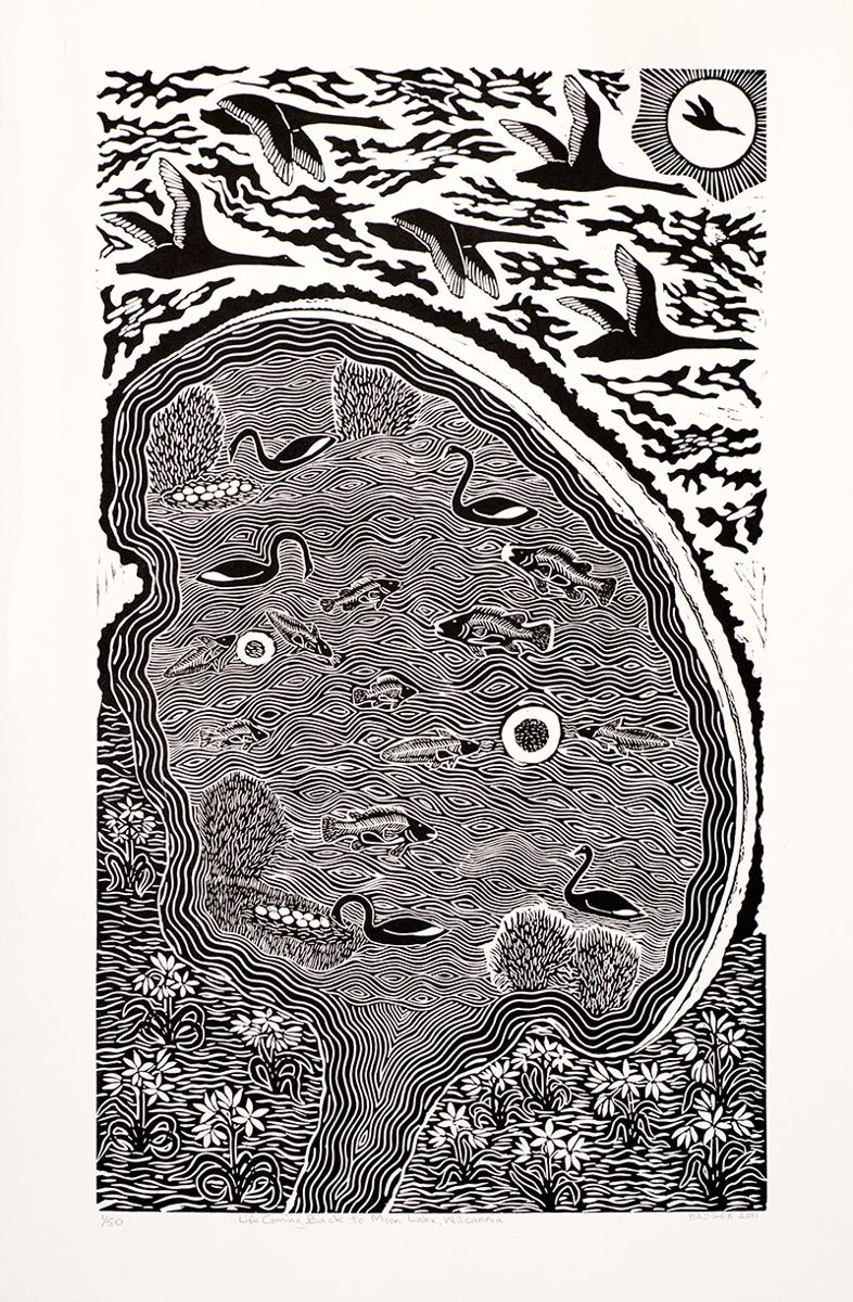 Badger Bates, Life Coming Back to Moon Lake, Wilcannia, 2011, linocut print. Courtesy the artist