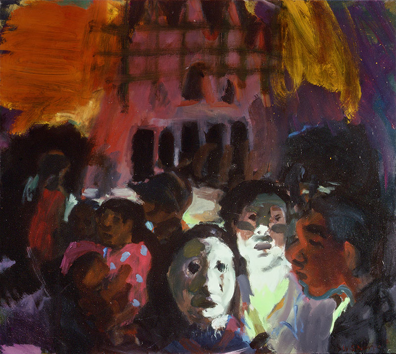 Wendy Sharpe, Midnight at Suai Cathedral, 2000, oil on canvas. Courtesy Australian War Memorial collection.