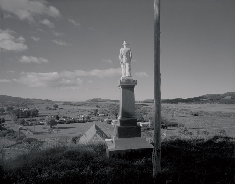 Laurence Aberhart, War Memorial, Tikitiki I, 2013, silver-gelatin, gold- and selenium-toned photograph. Courtesy the artist and Darren Knight Gallery