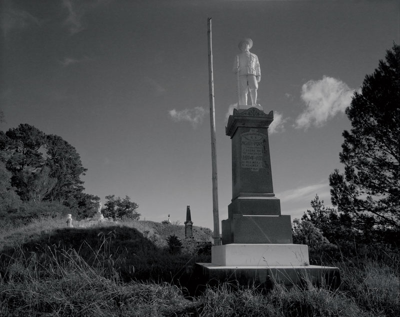 Laurence Aberhart, War Memorial, Tikitiki II, 2013, silver-gelatin, gold- and selenium-toned photograph. Courtesy the artist and Darren Knight Gallery