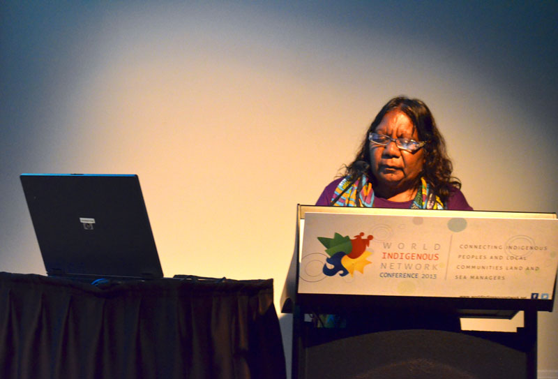 Annette Kogolo speaking at the World Indigenous Network Conference (WIN), Darwin, 2013