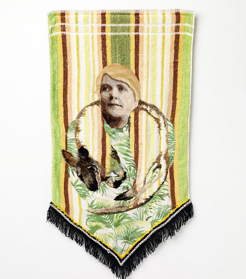 Sera Waters, Telling Tales on Terry Towelling Fashioning locals, 2016 17, towel, wool, cotton, bedsheet, velvet, trim. Courtesy the artist and Hugo Michell Gallery. Photo: Grant Hancock