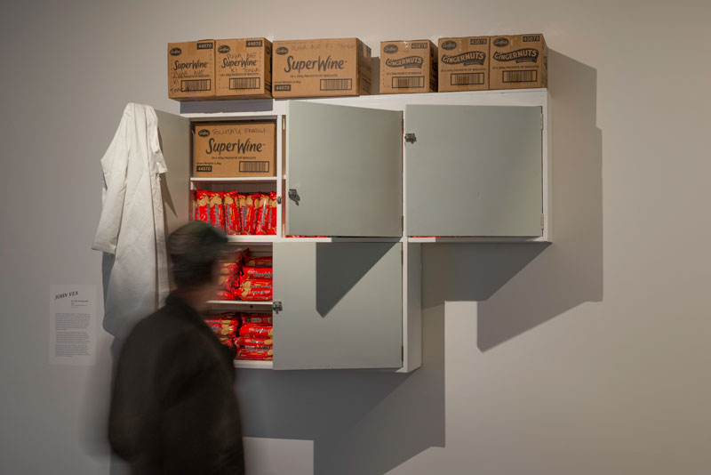 John Vea, Not to be sold separately, 2019, kitchen cupboards, Griffin's biscuits. Installation view, The Dowse Art Museum. Photo: Shaun Matthews