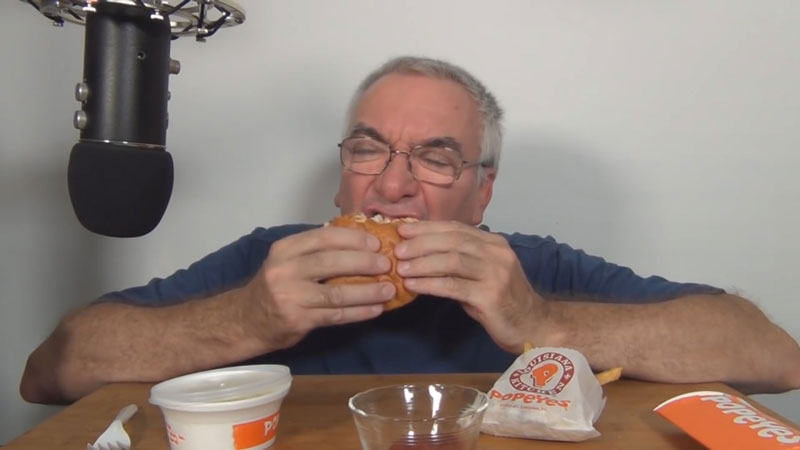 Morpheus ASMR, Eating Popeye's New Spicy Chicken, 2019. Photo courtesy Francis Russell