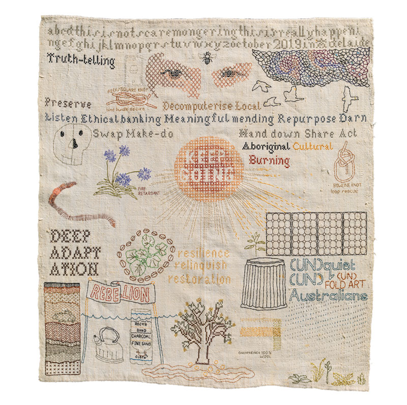 Sera Waters, Survivalist Sampler, 2019-20, cotton, glow-in-the-dark thread, found materials on repurposed linen. Photo: Grant Hancock. Courtesy Hugo Michell Gallery
