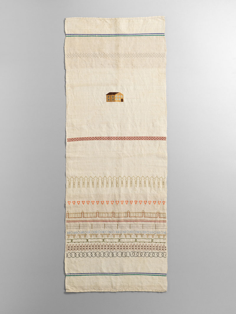 Sera Waters, Sampler for a Colonised Land, 2019, cotton on linen. Photo: Grant Hancock. Courtesy Hugo Michell Gallery