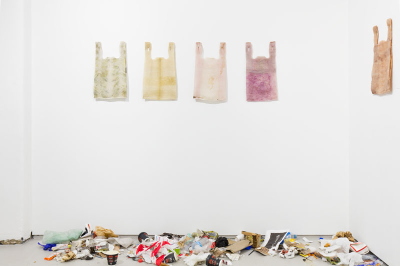 Rebecca Mayo, Installation view, with collected rubbish at CAVES, Melbourne, for ART+CLIMATE=CHANGE, 2019. Photo: Matthew Stanton