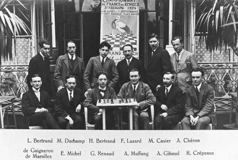 Marcel Duchamp at the Second French Chess Championship, Strasbourg, from L'Echiquier, 1924. Photo: Bridgeman Images ©Association Marcel Duchamp/ADAGP. Copyright Agency, 2020