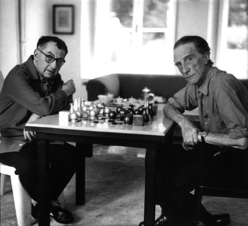 Man Ray and Marcel Duchamp playing chess, 1957. Photo: Michel Sima/Bridgeman Images @Association Marcel Duchamp/ADAGP. Copyright Agency, 2020