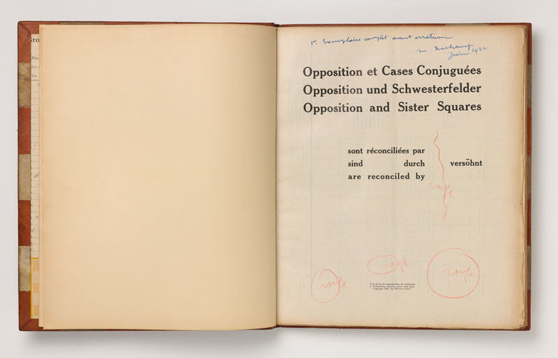 Marcel Duchamp and Vitaly Halberstadt, Opposition and Sister Squares are Reconciled (L'Opposition et les cases conjuguées sont réconciliées). Published by L'Echiquier/Edmond Lancel, Brussels, 1932. Leather-bound deluxe edition book, with notes and inserts added by Duchamp. Collection: Philadelphia Museum of Art: Gift of Jacqueline, Paul and Peter Matisse in memory of their mother, Alexina Duchamp