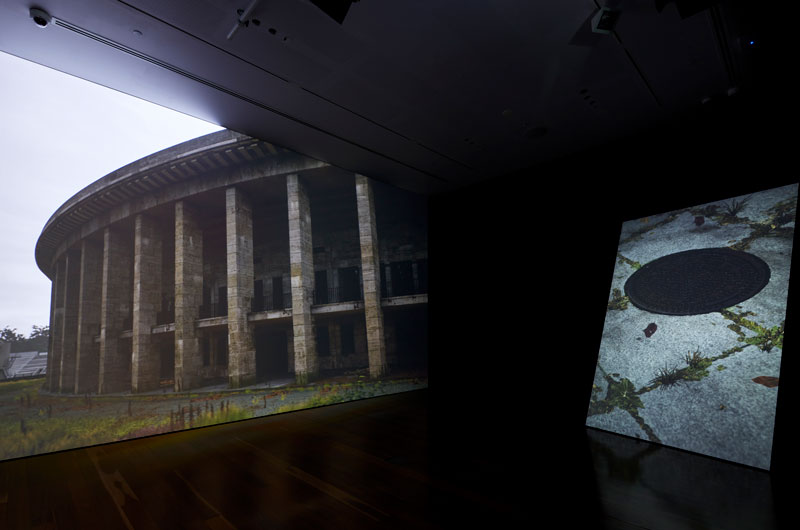 David Claerbout, Olympia (the real time disintegration into ruins of the Berlin Olympic stadium over the course of a thousand years), 2016. Installation view, Samstag Museum of Art. Photo: Sam Noonan