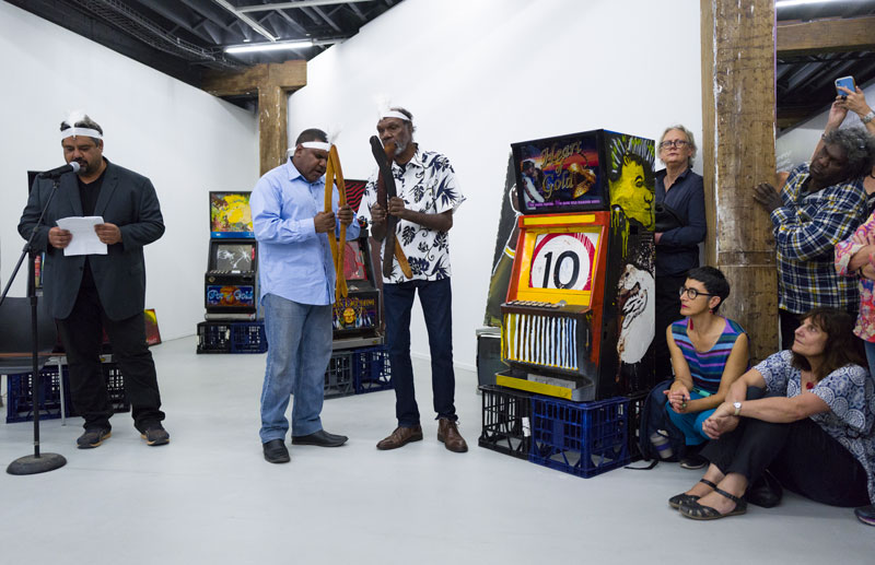 Joseph Williams, Jimmy Frank Jnr, Fabian Brown, performance at Artspace, Gangsters of Art installation for the Biennale of Sydney, 2020. Photo: Jesse Marlow. Courtesy Nyinkka Nyunyu Art and Culture Centre