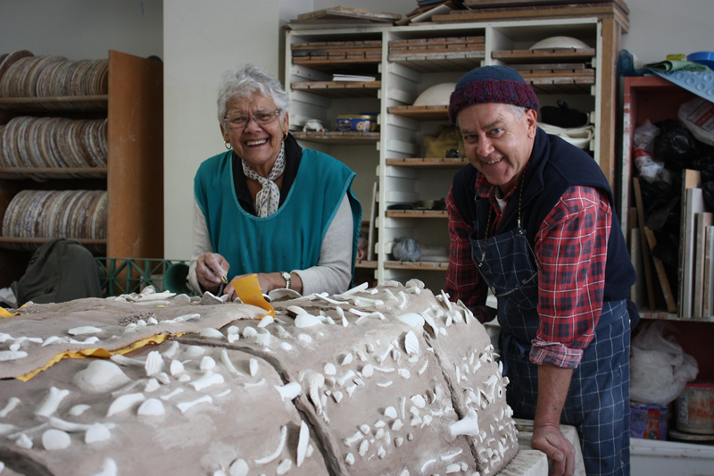 3.	Jack Anselmi and Cynthie Hardie, collaborative winners of the 2016 Indigenous Ceramic Art Award, working on Midden in the Gallery Kaiela studio. Photo: Belinda Briggs