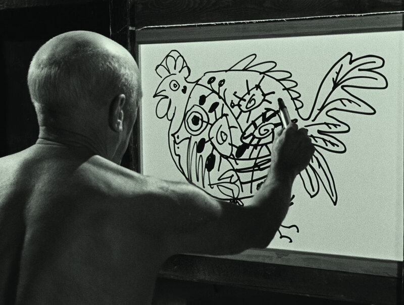 Still from The Mystery of Picasso (Dir. André Bazin), 1956