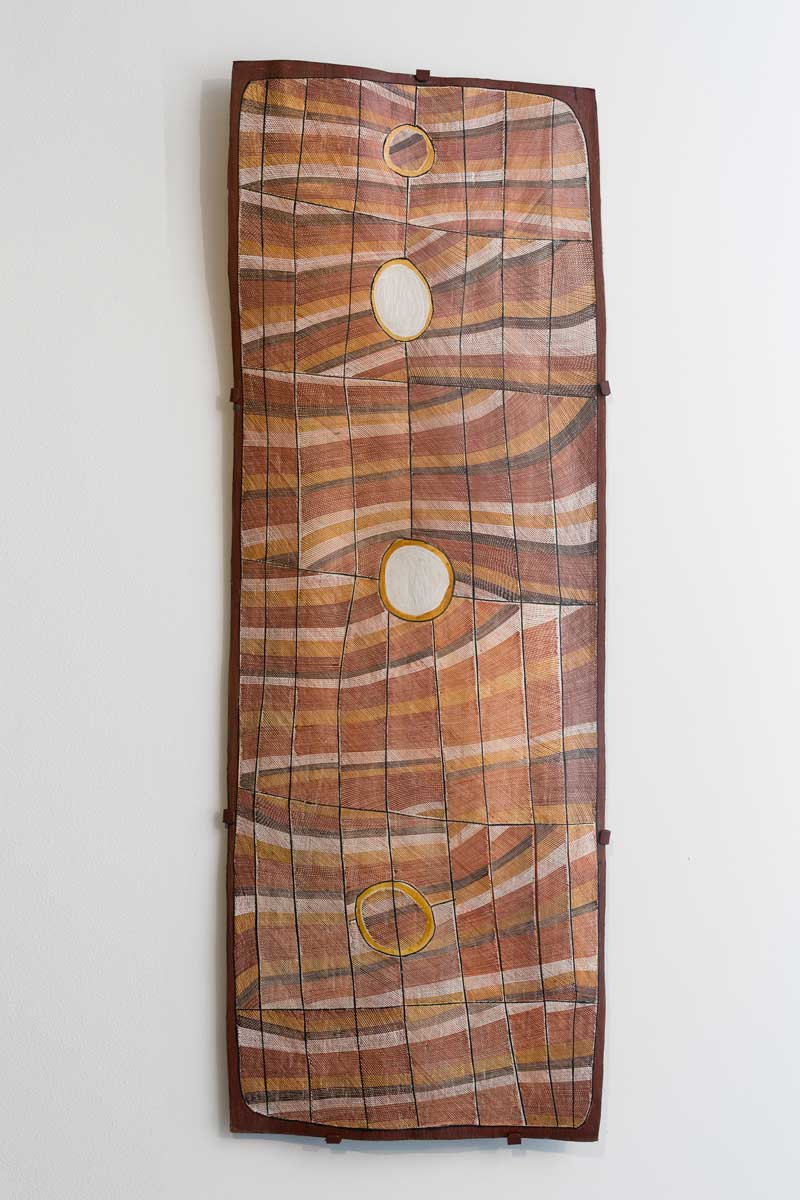 John Marwurndjul, Mardayin Design at Milmilngkan, 2003, bark painting ochre pigments with PVC fixative on stringybark (Eucalyptus tetradonta), UTS Art Collection. Photo: Jessica Maurer. Courtesy the artist and UTS Gallery