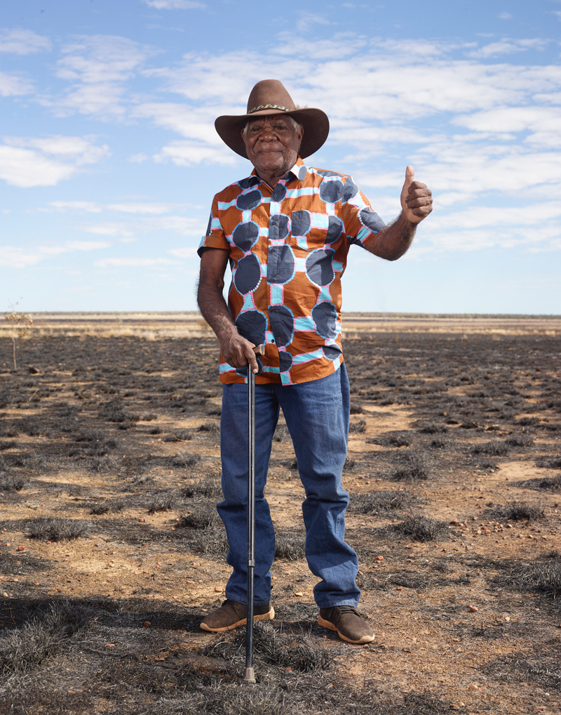 Ngarralja Tommy May, wearing his Mangkaja X Gorman shirt earlier this year for a photoshoot in Fitzroy Crossing. Photo: Charles Freger