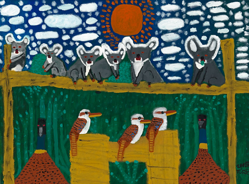 "Trevor ""Turbo"" Brown, The Birds and Animals of the Dreamtime, 2005. National Gallery of Victoria, Melbourne. ©Trevor ""Turbo"" Brown"