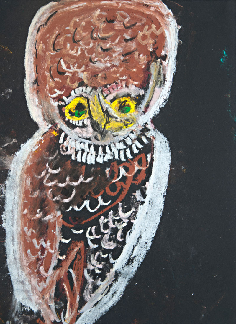 Dorothy Berry, Not titled (owl, self-portrait), 2009, pastel on paper. Courtesy Arts Project Australia