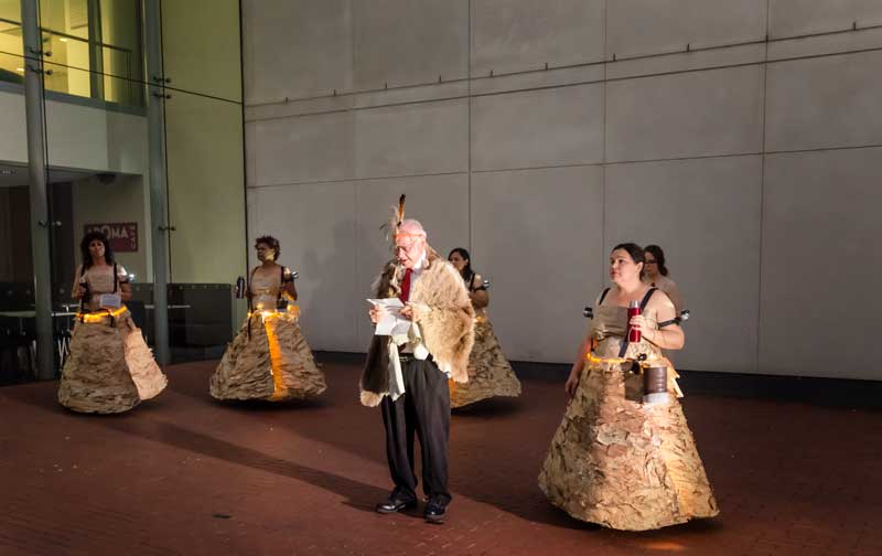 Uncle Lewis Yarluburka O'Brien presenting the opening address with the Unbound Collective (Simone Ulalka Tur, Faye Rosas Blanch, Natalie Harkin and Ali Gumillya Baker), Bound and Unbound: Sovereign Acts II, 2015, State Library of South Australia. Photo: Tony Kearney