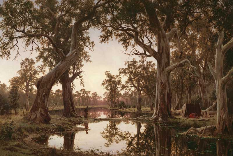 Henry James Johnstone, Evening Shadows, Backwater of the Murray, South Australia, 1880, oil on canvas. Collection: Art Gallery of South Australia, Gift of Mr Henry Yorke Sparks, 1881