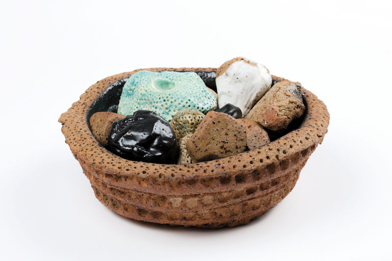 Glenn Barkley, Large bowl with Garden and Stones, 2015, earthenware and stoneware. Courtesy the artist and Utopia Art, Sydney