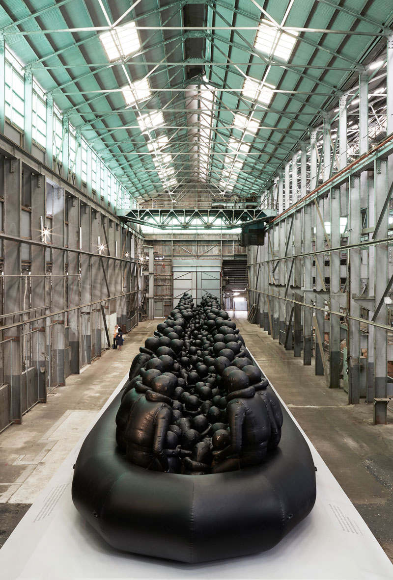 Ai Weiwei, Law of the Journey, 2017, reinforced PVC with aluminium frame, 312 figures. Installation view, Cockatoo Island for the 21st Biennale of Sydney 2018. Courtesy the artist and neugerriemschneider, Berlin. Presentation at the 21st Biennale of Sydney was made possible with generous support from the Sherman Foundation. Photo: Document Photography