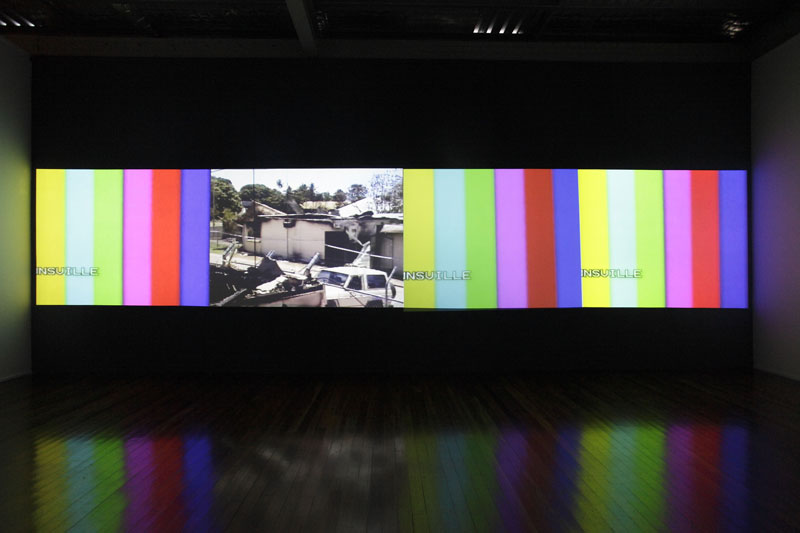 Vernon Ah Kee, tall man, 2010, four‐channel video installation. Installation view, Milani Gallery, Brisbane, 2010. Courtesy the artist and Milani Gallery, Brisbane © the artist