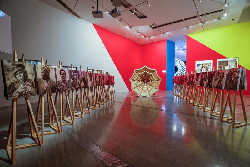 Installation view of Brook Andrew: The Right to Offend is Sacred, Ian Potter Centre, NGV Australia, 2017