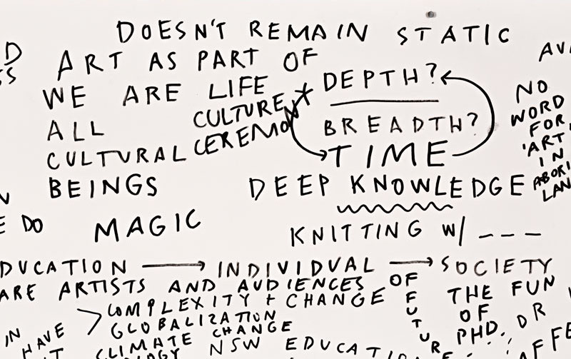 Agatha Gothe-Snape, Save Art From Education, 2018, (detail), performed at All Schools Should be Art Schools: Symposium on Art Education, presented by Kaldor Public Art Projects and UNSW Art & Design, Sydney, 24 October 2018, posca pen on arches hot press paper. Photo: Document Photography