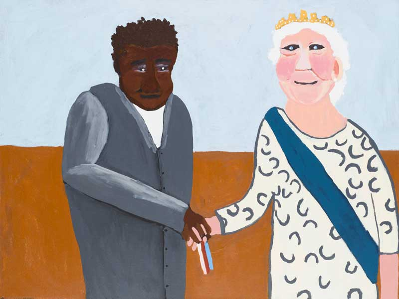 Vincent Namatjira, Albert Namatjira Receiving Coronation Medal from Her Majesty (from Albert's Story series), 2014 synthetic polymer paint on linen. Collection: Queensland Art Gallery | Gallery of Modern Art Foundation. © Vincent Namatjira/Copyright Agency, 2019