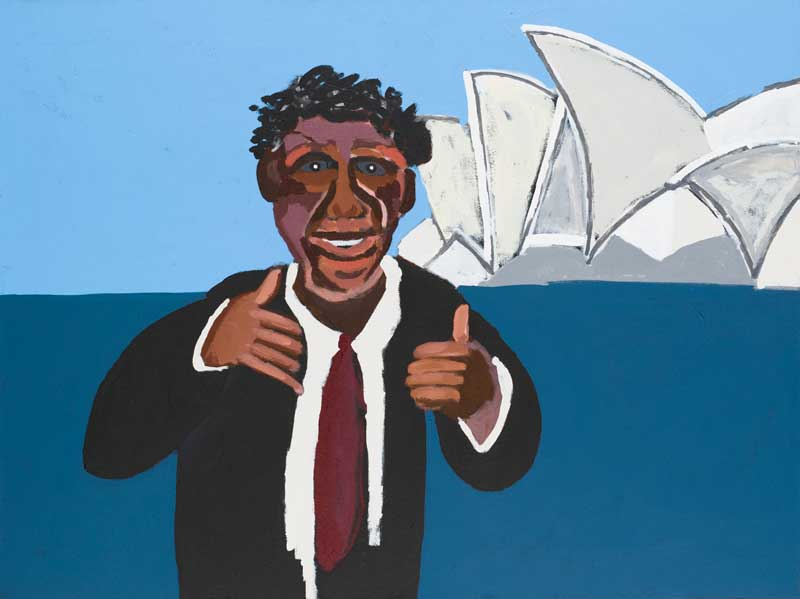 Vincent Namatjira, Albert Namatjira in Sydney—Yeah! (from Albert's Story series), 2014 synthetic polymer paint on linen Image courtesy the artist and Queensland Art Gallery | Gallery of Modern Art © Vincent Namatjira/Copyright Agency, 2019