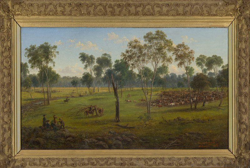 Eugene von Guérard, Cutting out the Cattle, Kangatong, 1856, oil on canvas on board. Bennett Bequest, 1998. Benalla Art Gallery Collection