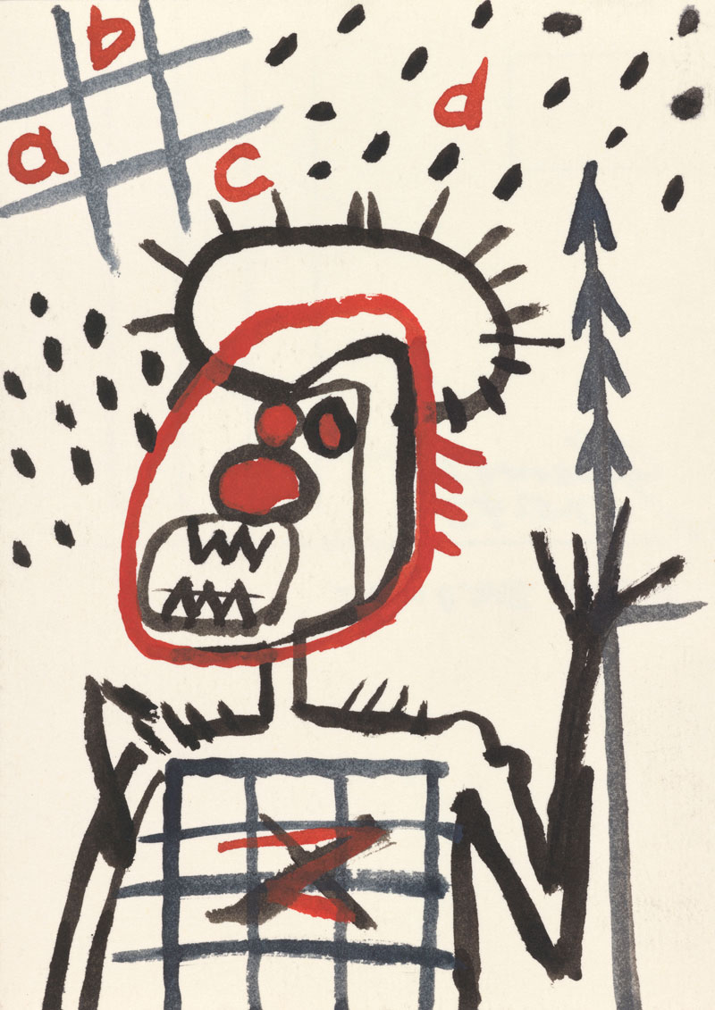 Gordon Bennett, After Basquiat (abcd), 1993, watercolour on postcard paper. Collection: The Estate of Gordon Bennett © The Estate of Gordon Bennett