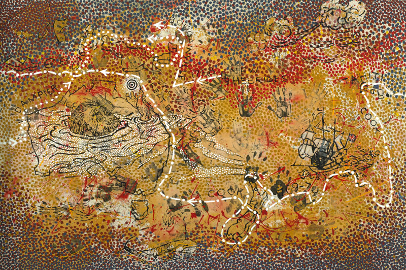 Gordon Bennett, Haptic Painting (Explorer: The Inland Sea), 1993, Synthetic polymer paint on canvas. Collection: Commonwealth Bank of Australia © The Estate of Gordon Bennett