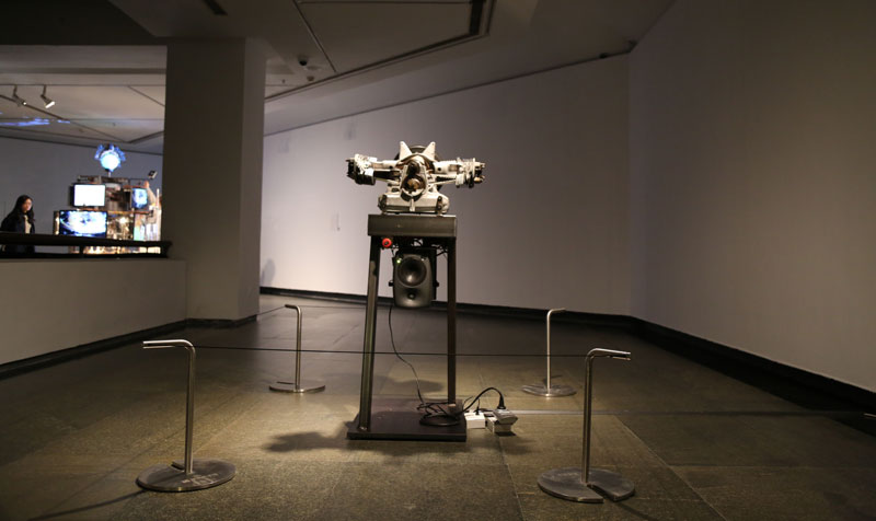 Thomas Bayrle, Rosqire, 2012, 2 CV motor, cut off, sound installation. Image: courtesy Guangdong Museum of Art