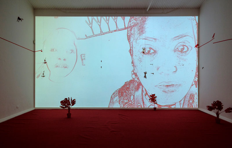 Mithu Sen, I have only one language, installation view