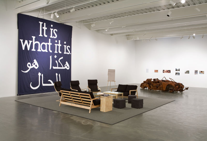 Jeremy Deller, It Is What It Is, 2009, mixed media installation. Installation view, Jeremy Deller, New Commissions: It Is What It Is: Conversations About Iraq, New Museum, New York. Commissioned by 3M Project, Creative Time, Hammer Museum, Los Angeles Museum of Contemporary Art, Chicago and the New Museum, New York. Image courtesy the artist and the Modern Institute/Tony Webster Ltd, Glasgow. Photo: Benoit Pailley