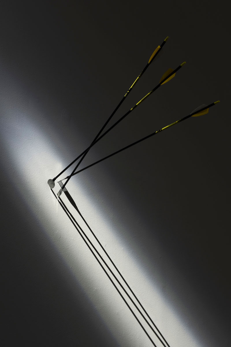 Loren Kronemyer, Wounded Amazon of the Capitaloscene 2, 2019, arrow shafts, custom broadheads, fletchings, serving. Courtesy the artist